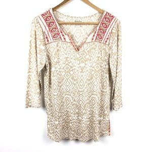 Lucky Brand Top Blouse Size M Tan